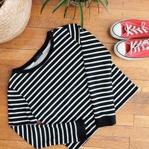 Sanctuary clothing crop stripe sweatshirt